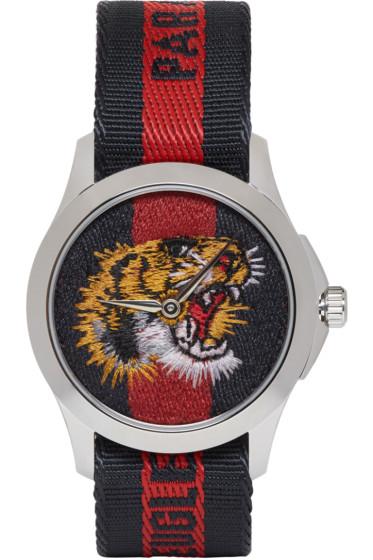 Gucci - Silver & Navy 'L'Aveugle Par Amour' Tiger Watch