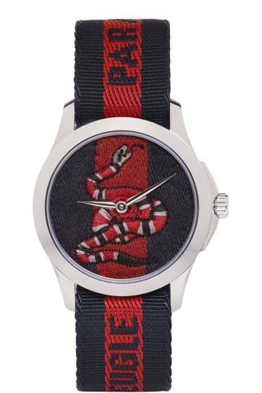 Gucci - Silver & Navy 'L'Aveugle Par Amour' Snake Watch