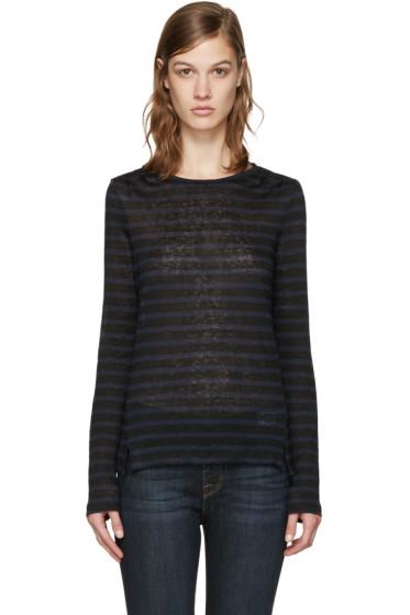 Frame Denim - Navy & Black Striped Pintuck T-Shirt