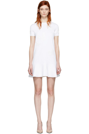 Valentino - White Embroidered Knit Dress