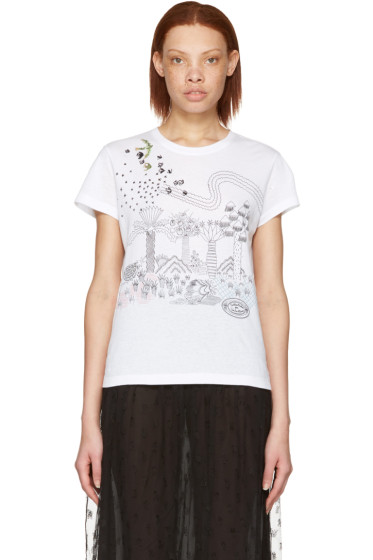 Valentino - White Embroidered Birds T-Shirt