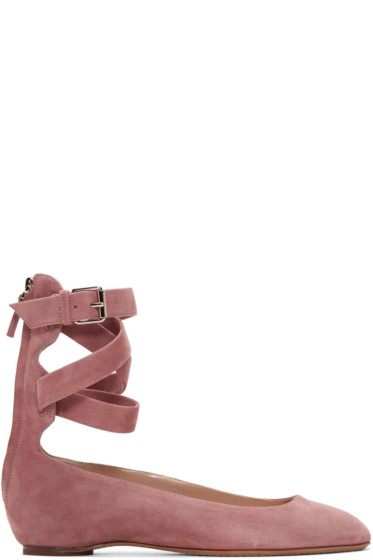 Valentino - Pink Suede Ballerina Flats