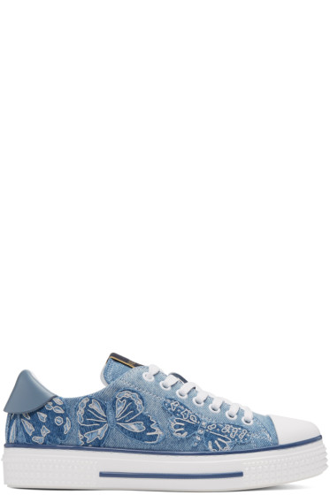 Valentino - Blue Denim Camubutterfly Sneakers