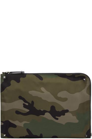 Valentino - Green Camouflage Zip Pouch