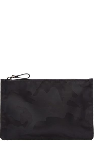 Valentino - Black Camouflage Nylon Pouch