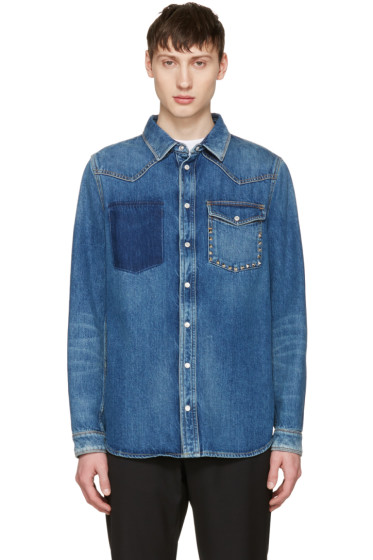 Valentino - Blue Denim Rockstud Jacket
