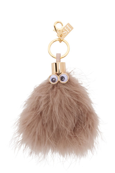 Sophie Hulme - Taupe Ethel Feather Keychain