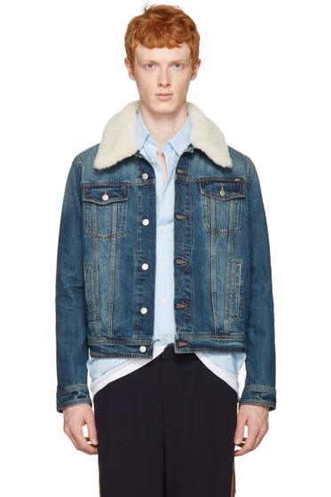AMI Alexandre Mattiussi - Blue Denim Shearling Collar Jacket