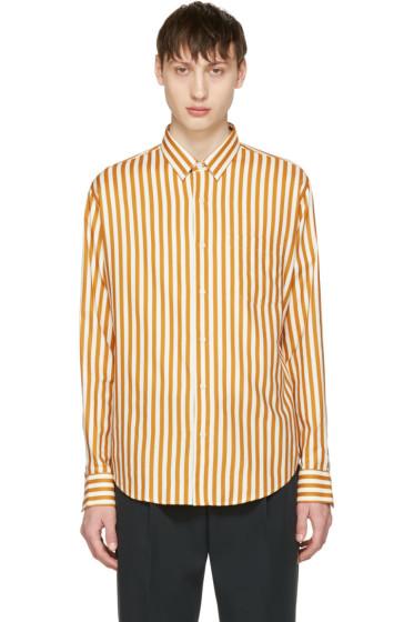 AMI Alexandre Mattiussi - Orange & Ecru Striped Shirt