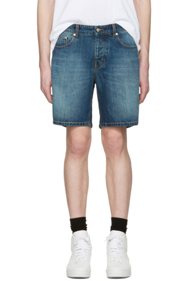 AMI Alexandre Mattiussi - Blue Denim Bermuda Shorts