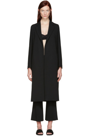 Calvin Klein Collection - Black Crepe Belted Kred Coat