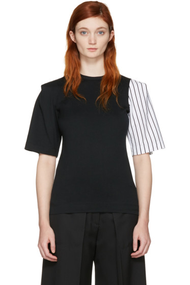 Facetasm - SSENSE Exclusive Black Striped Sleeve T-Shirt