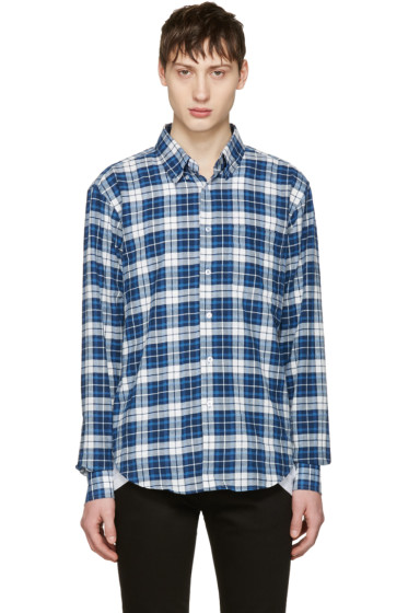 Naked & Famous Denim - White & Blue Dobby Check Shirt