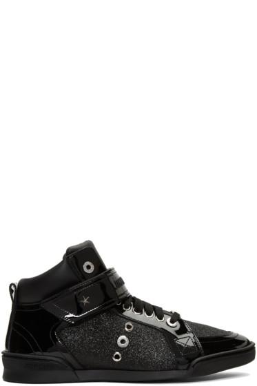 Jimmy Choo - Black Glitter Lewis High-Top Sneakers