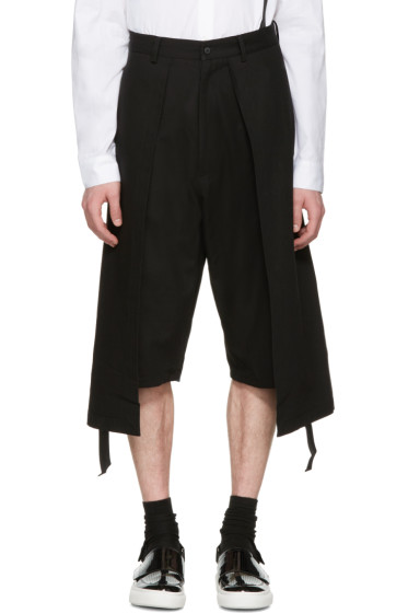 D.Gnak by Kang.D - Black Twill Long Layered Shorts