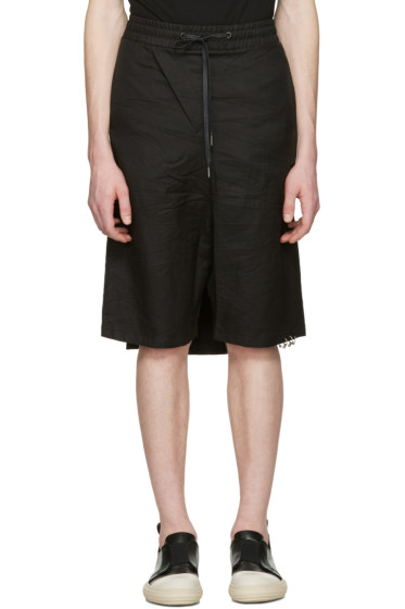 D.Gnak by Kang.D - Black Crinkled Back Panel Shorts