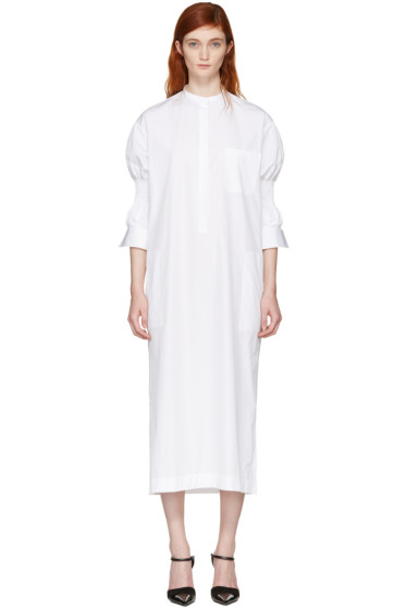 Haider Ackermann - White Smocked Shirt Dress