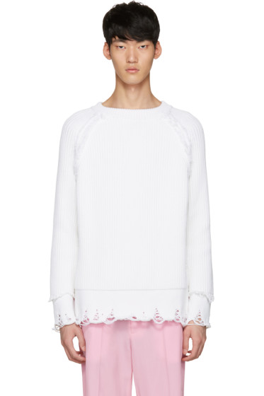 Haider Ackermann - White Ribbed Sweater