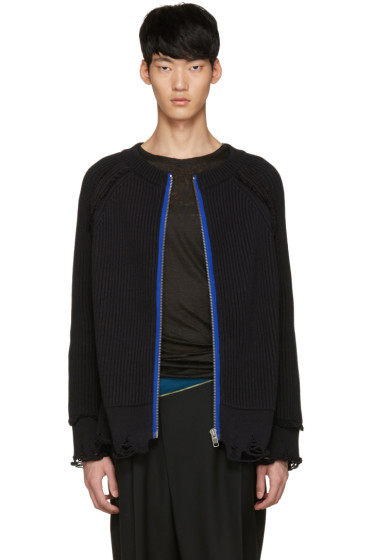 Haider Ackermann - Black Ribbed Zip-Up Sweater