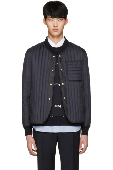 Moncler Gamme Bleu - Navy Quilted Down Bomber Jacket