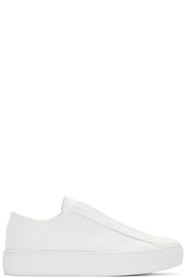 Yohji Yamamoto - White Canvas Slip-On Sneakers
