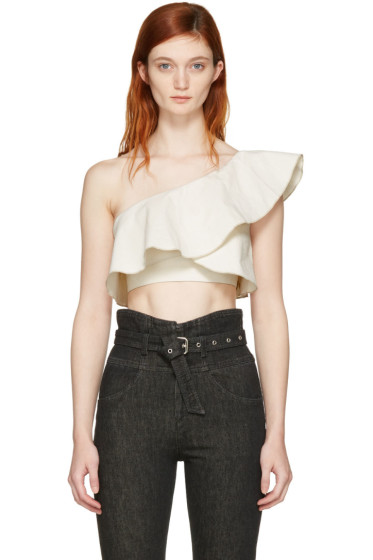 Isabel Marant - Ecru Hayo Single-Shoulder Crop Top