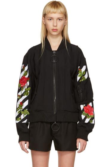Off-White - Black Diagonal Roses Bomber Jacket