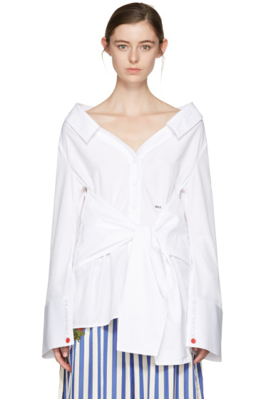 Off-White - White Long Sleeve Off-the-Shoulder Shirt