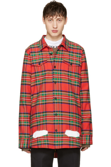 Off-White - Red Check Diagonal Spray Shirt