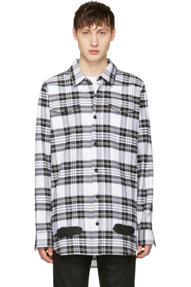 Off-White - White Check Diagonal Spray Shirt