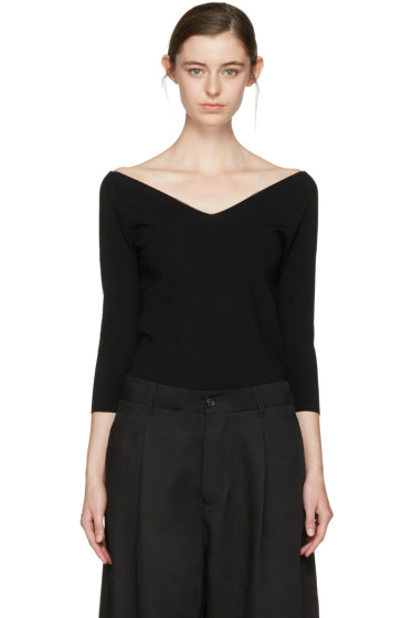 Studio Nicholson - Black Off-The-Shoulder Pullover
