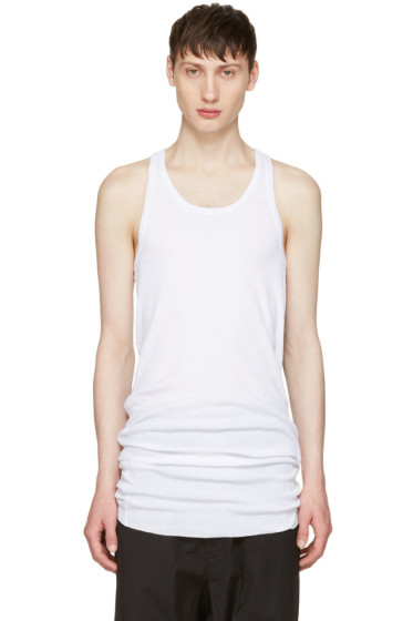 11 by Boris Bidjan Saberi - White Slim Logo Tank Top