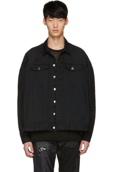 Diet Butcher Slim Skin - Black Oversized Denim Jacket