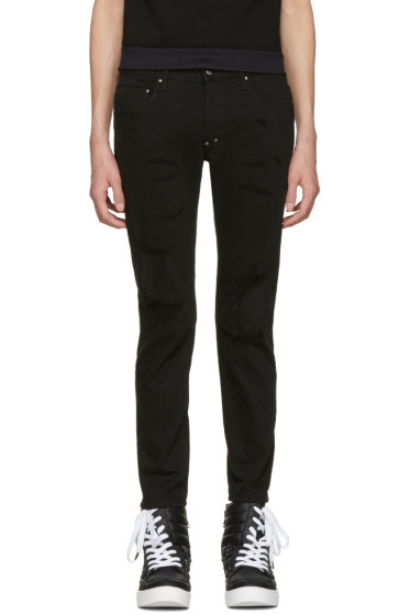 Diet Butcher Slim Skin - Black Damaged Skinny Jeans
