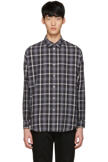 Diet Butcher Slim Skin - Black Oversized Check Shirt