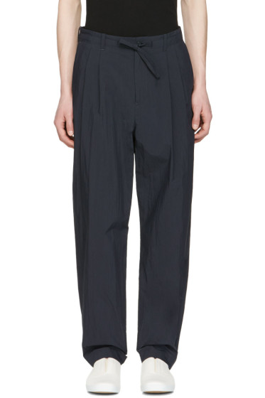 Undecorated Man - Navy Pleated Drawstring Trousers