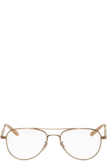 Garrett Leight - Gold Linnie Aviator Glasses