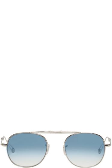 Garrett Leight - Silver Van Buren Aviator Sunglasses
