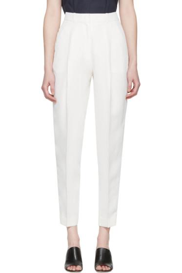 Jil Sander Navy - White Woven Trousers