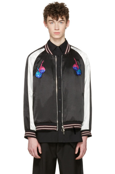 D by D - Black Satin Trolls Bomber Jacket