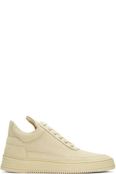 Filling Pieces - Beige Perforated Tone Sneakers