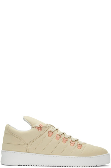 Filling Pieces - Beige Mountain Cut Padded Stitch Sneakers