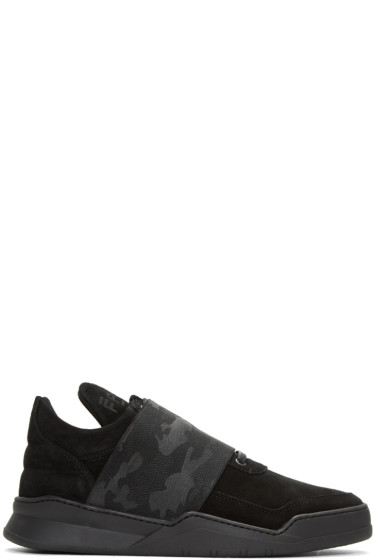 Filling Pieces - Black Ghost Elastic Strap Camo Sneakers