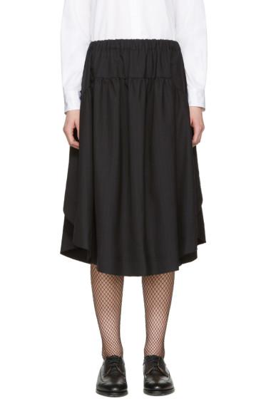 Comme des Garçons Comme des Garçons - Navy Pinstripe Draped Skirt