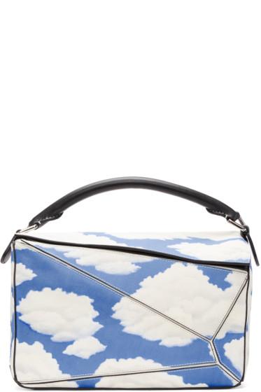 Loewe - Black & Blue Handpainted Clouds Puzzle Bag