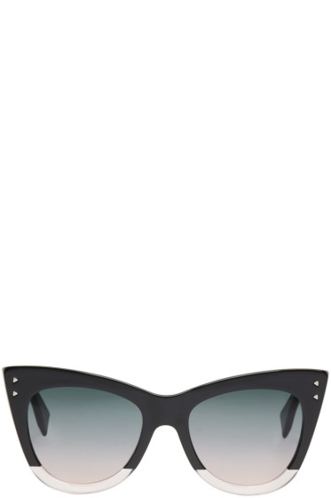 Fendi - Black Two-Tone Cat-Eye Sunglasses