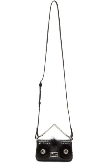 Fendi - Black Snakeskin Micro Baguette Bag