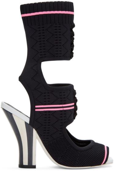 Fendi - Black Stretch Sock Sandals