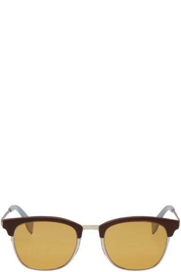 Fendi - Brown & Silver Qbic Sunglasses