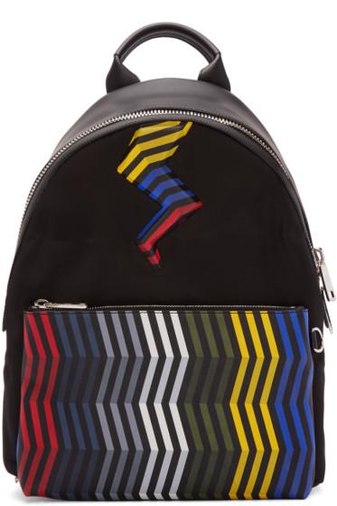 Fendi - Black Zig Zag Bolt Backpack